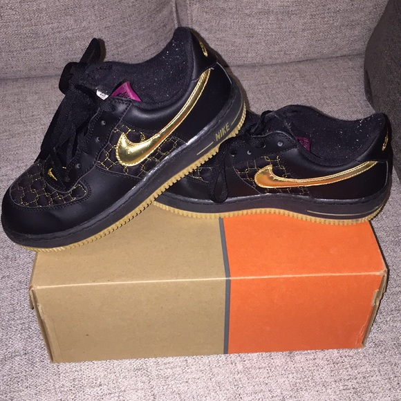Black and gold Nike Air Force 1 low tops size 3